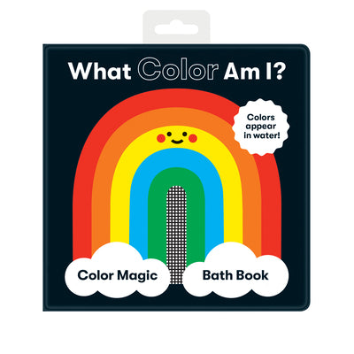 what color am i magic bath book, front cover of the book in black with a picture of a smiley face colorful rainbow. Colors appear in water.