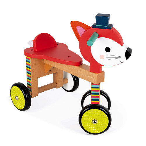 wooden fox ride on toy
