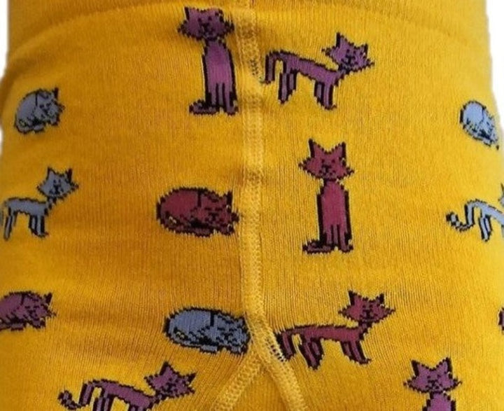 Cat Print Yellow Tights for Kids