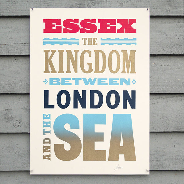 Limited edition 'Essex – The Kingdom' wood type letterpress print.