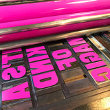 Letterpress printed wood type 'It's a Kind of Magic' poster.