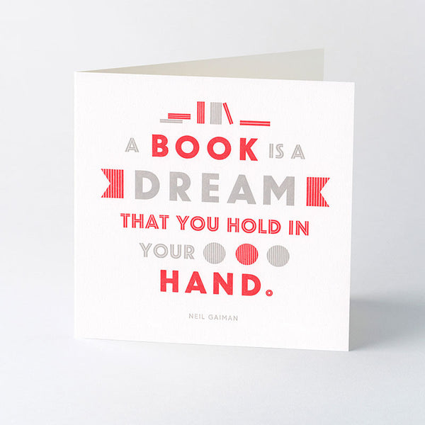 'A book is a dream' quotation letterpress card.