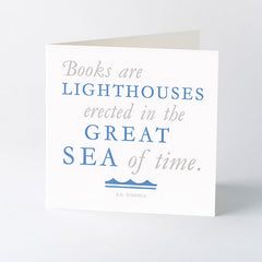'Books are lighthouses' quotation letterpress card.