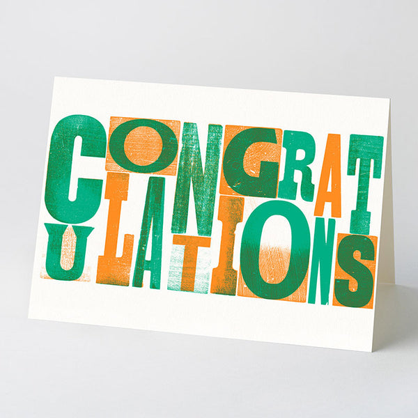 'Congratulations' wood type card – green/orange