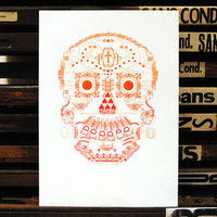 Limited edition 'Day of the Dead' glow-in-the-dark letterpress print.