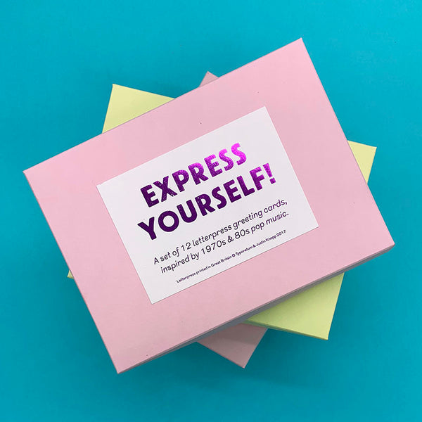 Express Yourself! Box set of 12 letterpress greeting cards