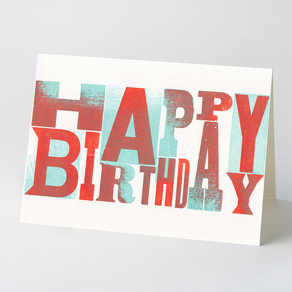 'Happy Birthday' wood type card – blue/red
