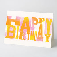 'Happy Birthday' wood type card – pink/yellow