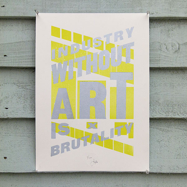 'Industry Without Art' limited edition wood type letterpress print