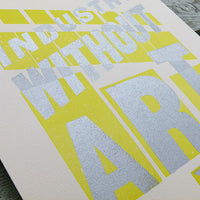 'Industry Without Art' limited edition wood type letterpress print.
