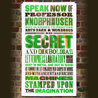 'Speak Now of Professor Knopphauser' wood type print.