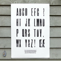 'Elongated Sans Serif' wood type sample poster