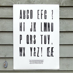 'Elongated Sans Serif' wood type sample poster.