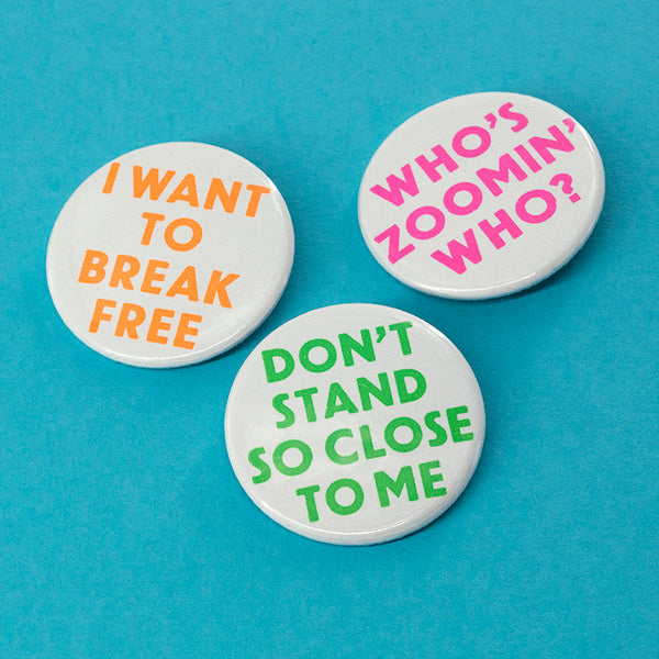 Lockdown song title pin badges – pack of three