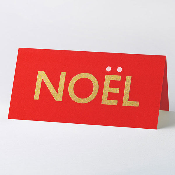 'NOËL' wood type card – red