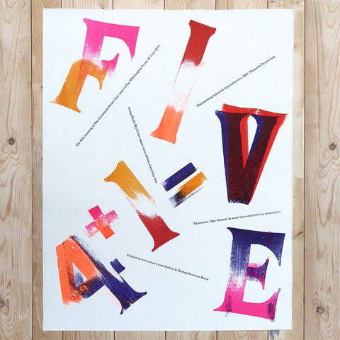 Letterpress '4+1=V' poster by The Occasional Print Club.