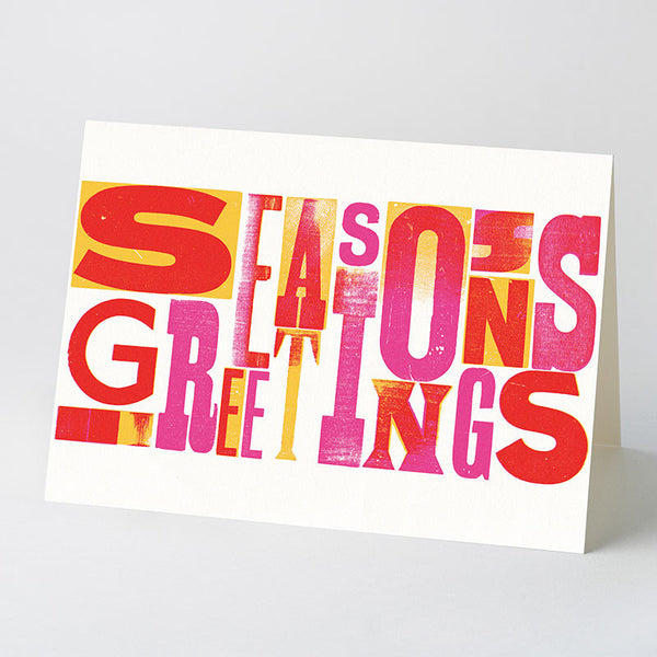 'Season's Greeting's' wood type card