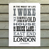 Limited edition 'In the Midst of Life I Woke' letterpress poster