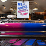 'We are Magnificent Machineries of Joy' wood type and geometric block letterpress poster
