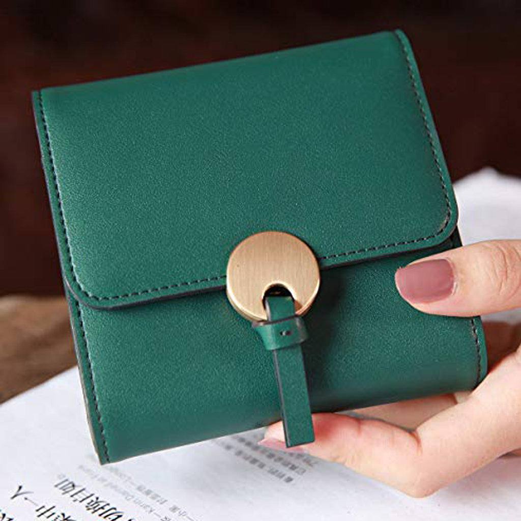 EMINI HOUSE Split Leather Trifold Women Wallet with Round Hardware Closure