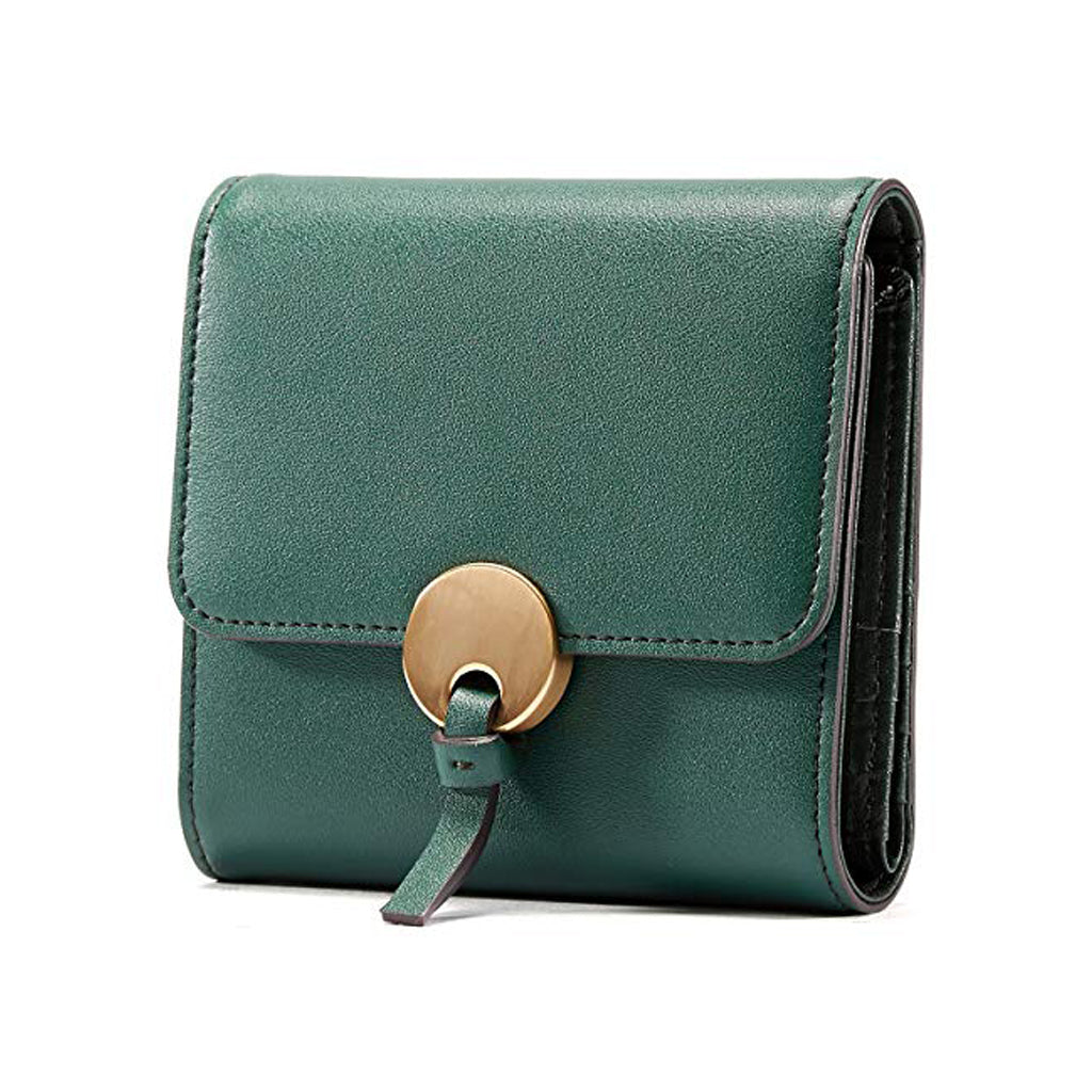 EMINI HOUSE Split Leather Trifold Women Wallet with Round Hardware Closure - EMINIHOUSE