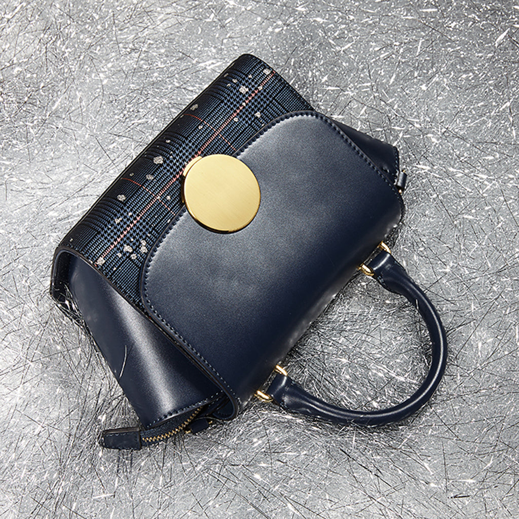 EMINI HOUSE Plaid Patchwork Padlock Handbags Split Leather Crossbody
