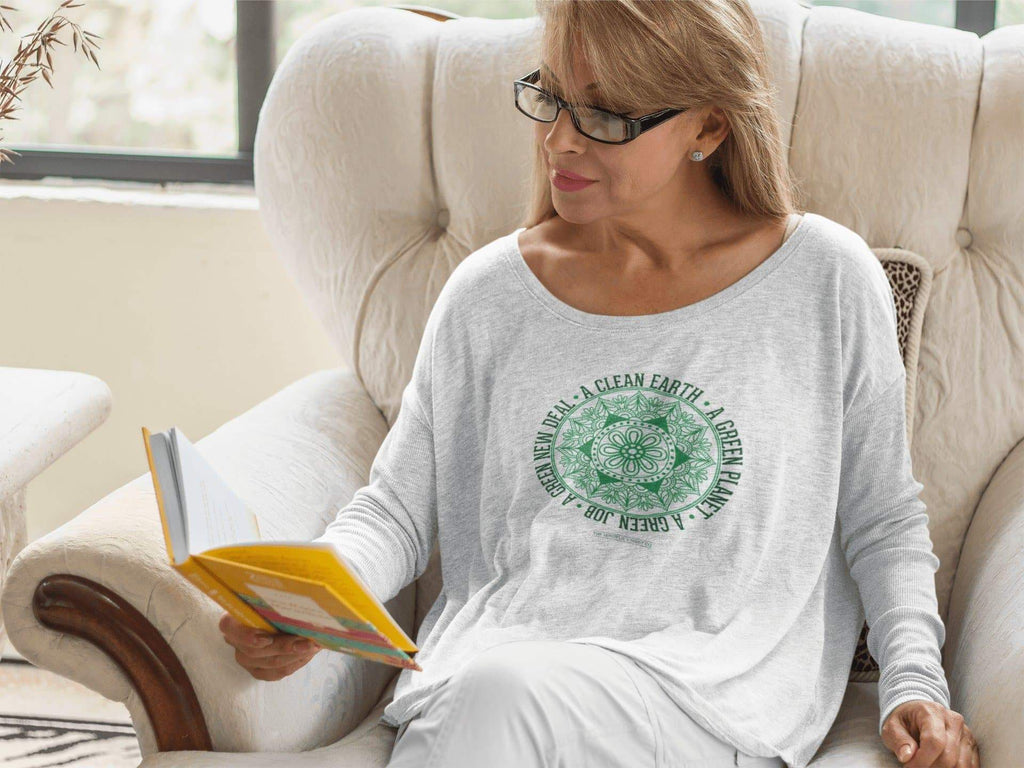 Green New Deal Ladies' Long Sleeve T-Shirt Mindful T-Shirt Co.