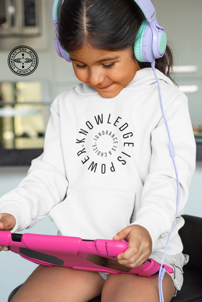 Knowledge Is Power Kids Hoodie Mindful T-Shirt Co.