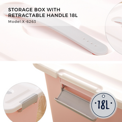 Citylife Storage Box With Retractable Handle - Medium Size 18L - X6263