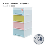 Citylife 4 Tier Compact Cabinet - 108L