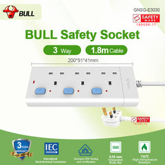 Bull Safety Socket 3 Way Extension Socket Outlet with Certified Safety Mark & 3 Years Warranty (1.8 Meters Cable)
