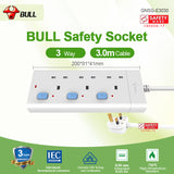 Bull Safety Socket 3 Way Extension Socket Outlet with Certified Safety Mark& 3 Years Warranty (3.0 Meters Cable)