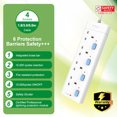 Bull Safety Socket 4 Way Extension Socket Outlet with Certified Safety Mark & 3 Years Warranty (3.0 Meters Cable) Professional Lightning Protection & Surge Protector
