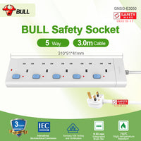 Bull Safety Socket 5 Way Extension Socket Outlet with Certified Safety Mark & 3 Years Warranty (3.0 Meters Cable)