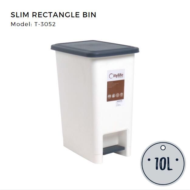 Citylife Slim Rectangle Step Bin 10L