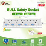 Bull Safety Socket 5 Way Extension Socket Outlet with Certified Safety Mark & 3 Years Warranty (3.0 Meters Cable) Professional Lightning Protection & Surge Protector