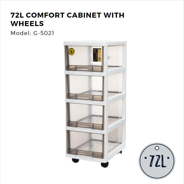 Citylife 4 Tier Compact Cabinet with Wheels - 72L
