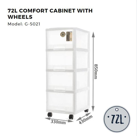 Citylife 4 Tier Compact Cabinet with Wheels - 72L - G5021