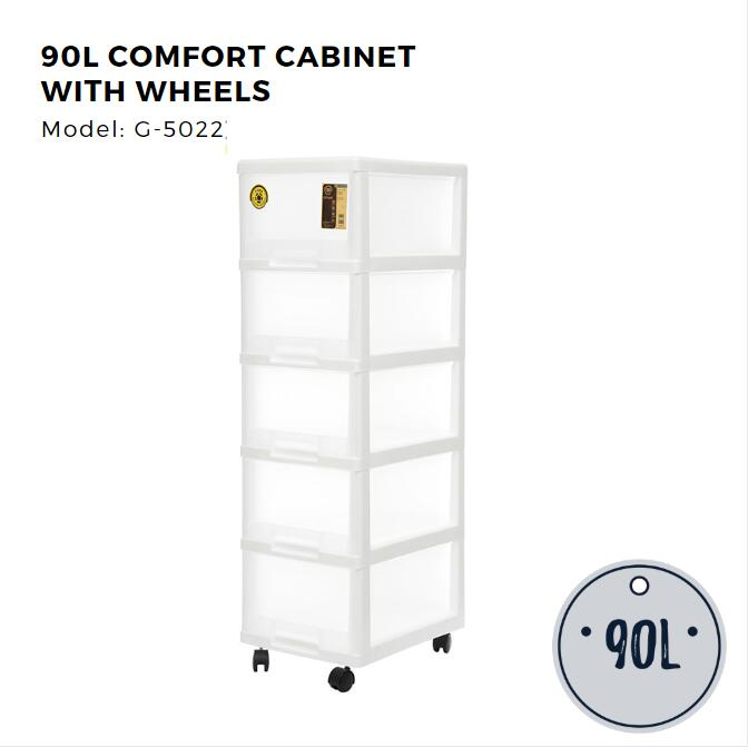 Citylife 5 Tier Compact Cabinet with Wheels - 90L