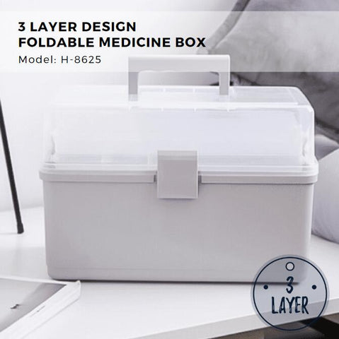 Citylife 3 Layer Design Foldable Medicine Box - Large Size 14L - X8625