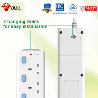 Bull Safety Socket 4 Way Extension Socket Outlet with Certified Safety Mark & 3 Years Warranty (3.0 Meters Cable)