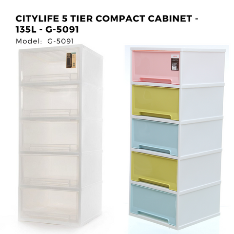 Citylife 5 Tier Compact Cabinet - 135L - G-5091