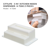 Citylife - 3 in 1 Kitchen Needs Dispenser (Not included Paper Towel, Cling Wrap & Rubbish Bag) - H-7280 (1 Piece)