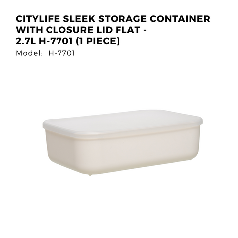 Citylife Sleek Storage Container with Closure Lid Flat - 2.7L - H7701 (1 Piece)