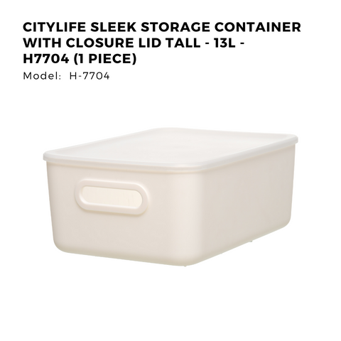 Citylife Sleek Storage Container with Closure Lid Tall - 13L - H7704 (1 Piece)