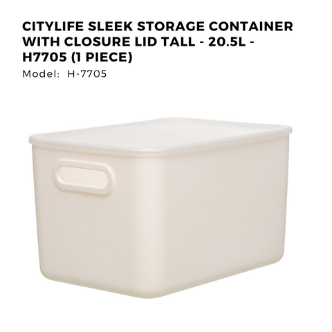 Citylife Sleek Storage Container with Closure Lid Tall - 20.5L - H7705 (1 Piece)