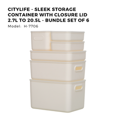 Citylife - Sleek Storage Container with Closure Lid 2.7L to 20.5L - Bundle Set of 6