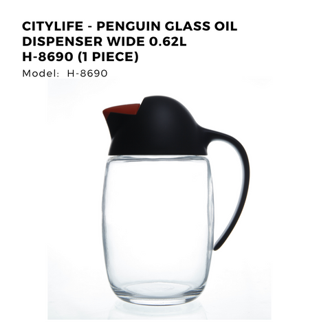 Citylife - Penguin Glass Oil Dispenser Wide 0.62L H-8690 (1 Piece)