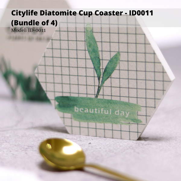 Citylife Diatomite Cup Coaster - ID0011 (Bundle of 4)
