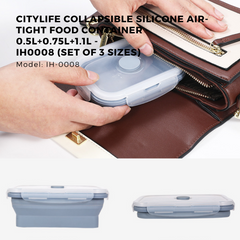 Citylife Collapsible Silicone Air-Tight Food Container - 0.5L+0.75L+1.1L - IH0008 (Set of 3 Sizes)
